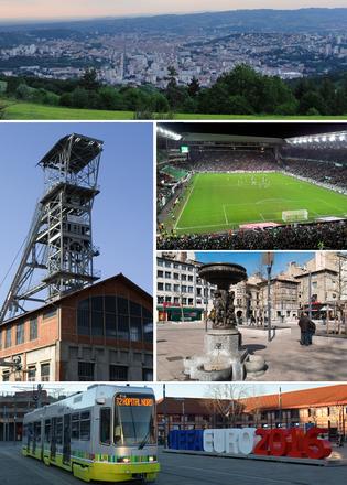 自顶层顺时针方向依次为:圣艾蒂安鸟瞰图、若弗鲁瓦·吉夏尔球场、市中心街头雕塑、沙托克勒火车站及前方的有轨电车、一处废弃的矿井