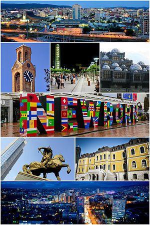 普里什蒂纳风光 普里什蒂纳天际线, 钟楼,斯堪德培广场, 国家图书馆,新生纪念碑,科索沃政府大楼,国家博物馆,普里什蒂纳夜景