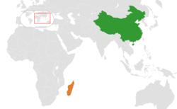 中国和马达加斯加在世界的位置