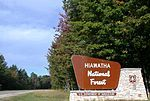 海华沙国家森林中,M-28号公路旁森林的标志