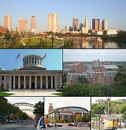 从上到下从左到右:哥伦布市中心、俄亥俄州议会广场、俄亥俄州立大学大学堂、Short North、全国竞技场、复制的圣玛利亚号