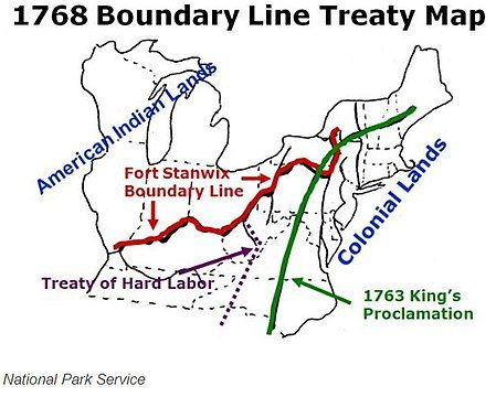 """""""1768 Boundary Line Treaty Map"""" for Iroquois Six Nations and tributary tribes north of Fort Stanwix and the Ohio River; and for Cherokee and Creeks south of the Ohio River and west of modern Roanoke, Virginia, the purple line 1768 """"Treaty of Hard Labor"""", is west of the Eastern Continental Divide, the green line for the previous 1763 """"King's Proclamation""""."""