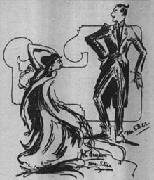 Pen and ink sketch showing slim, art-deco style figures of John and Ethel Barrymore