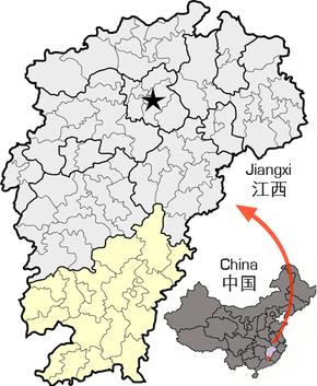 Location of Ganzhou within Jiangxi.png