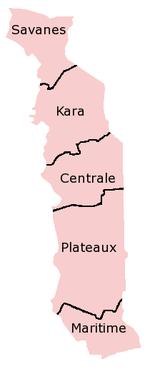 A clickable map of Togo exhibiting its five regions.