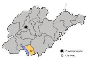 图中高亮显示的是枣庄市