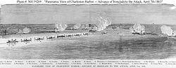Panoramic view of ships in harbor during battle