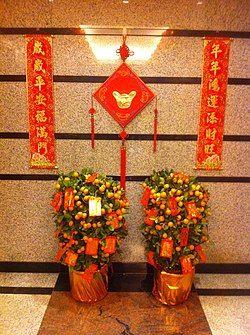 HK Mid-levels Chinese New Year decoration plants Jan-2012.jpg