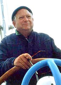 Jack Vance at the helm of his boat on SanFrancisco Bay in the early 1980s