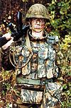 Russian soldier wearing modern body armour