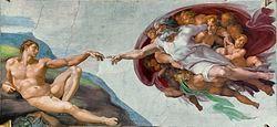 米开朗基罗创作的西斯汀小堂天顶画之一《创造亚当》