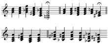 musical score showing a sequence of 22 different chords, each with 3, 4 or 5 notes