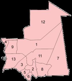 毛里塔尼亚各省位置图