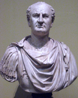 Front view of a bust. He is balding and wears a Roman tunic.