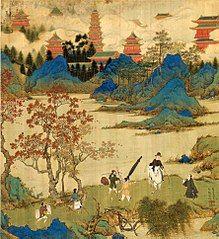 《徐显卿宦迹图·鹿鸣彻歌》表现的徐显卿中式隆庆二年(1568年)应天府乡试之后的场景,背景可见南京大报恩寺塔