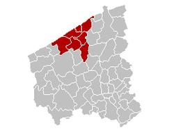 奥斯坦德区在西弗兰德省的位置