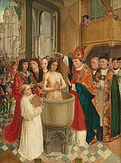 painting of Clovis I conversion to Catholicism in 498, a king being baptized in a tub in a cathedral surrounded by bishop and monks
