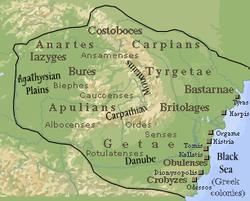 Dacia during the reign of Burebista, 82 BC.