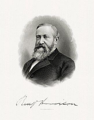 美国印钞局刻版的哈里森总统肖像