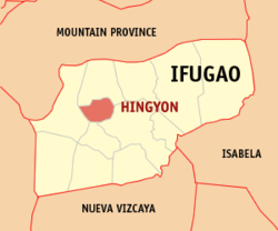 Map of Ifugao with Hingyon highlighted