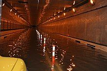 The Queens–Midtown Tunnel is seen flooded in the aftermath of Hurricane Sandy.
