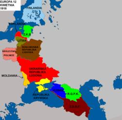 1918年后期,俄罗斯帝国十月革命后独立的东欧国家