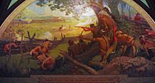 Photograph of a mural entitled Indian Attack on the Village of St. Louis, 1780, depicting the Battle of St. Louis.