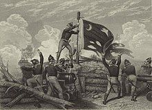 Continental Sergeant Jasper of the 2nd South Carolina Regiment, on a parapet raising the fort's South Carolina Revolutionary flag with its white crescent moon.