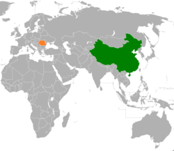 People's People's Republic of China和Romania在世界的位置