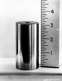 A metal cylinder with a ruler next to it, 3.1cm high