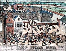 This colorized 17th century copperplate depicts the destruction, rape, and pillage of Breda: soldiers are killing men and women and the city is burning.