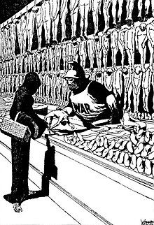 Editorial cartoon in which Death buys bodies from War.