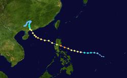 超强台风尤特的路径图