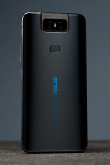 The glass back of a ZenFone 6 in Midnight Black