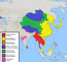 color map showing Buddhism is a major religion worldwide