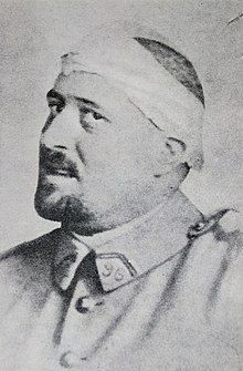 Photograph of Guillaume Apollinaire in spring 1916 after a shrapnel wound to his temple