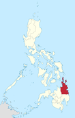 Map of the Philippines highlighting the Caraga Region