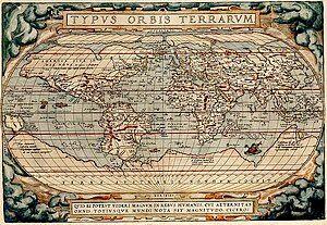 Typus Orbis Terrarum drawn by Abraham Ortelius.jpg