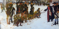 From the left armed with muskets, a standing rank of six US infantry, a kneeling rank of six infantry, then standing facing them from the right are General von Steuben instructing them with his arm outstretched, and two officers behind him.