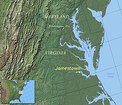 詹姆斯敦在弗吉尼亚东海岸的位置