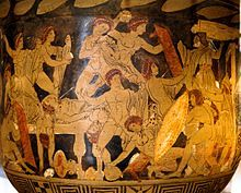 Stylised drawing taken from a Greek vase, of numerous naked or near-naked figures, some bearing weapons, some being attacked. In the lower right corner a figure carries a large shield; above him an elderly man looks on.