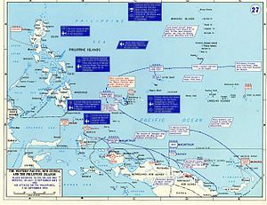Map showing the strategic situation in the Western Pacific region, including the location of military units and military operations described in the article