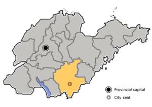 图中高亮显示的是临沂市