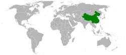 China和Equatorial Guinea在世界的位置