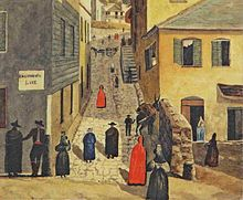 Painting of a street scene showing people and pack animals going up and down a steep street, with several women wearing the traditional red cloak of Gibraltar