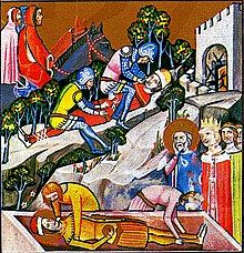 An elderly man and women, both wearing a crown, stand at a coffin; two serfs are putting a young man into the coffin
