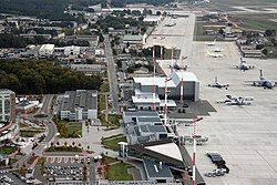 Aerial view of Ramstein showing hangars, warehouses and the passenger terminal alongside the flight line.