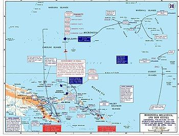 Colour map of the New Guinea, Bismark Islands, Solomon Islands and Central Pacific area marked with the main movements of Allied and Japanese forces between June 1943 and April 1944 as described in the article
