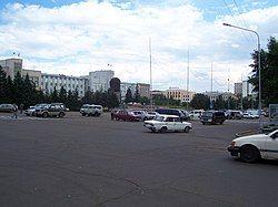 列宁的雕像在乌兰乌德的苏维埃广场上