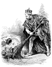 """George V in the ceremonial robes of the Garter sweeps aside assorted crowns labelled """"Made in Germany"""""""